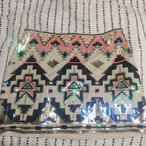 Express sequin Aztec skirt
